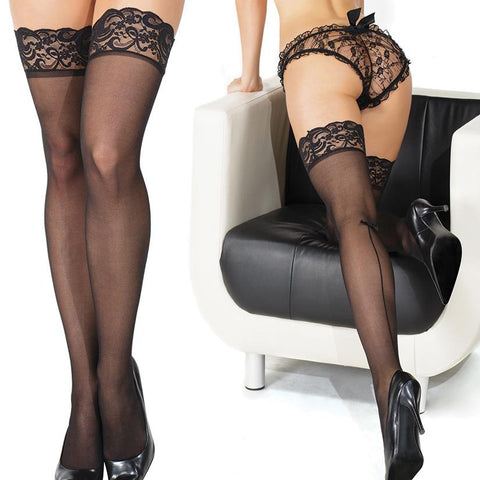 Coquette Thigh High Sheer Scalloped Lace Stockings - Black O/S - OkGiv