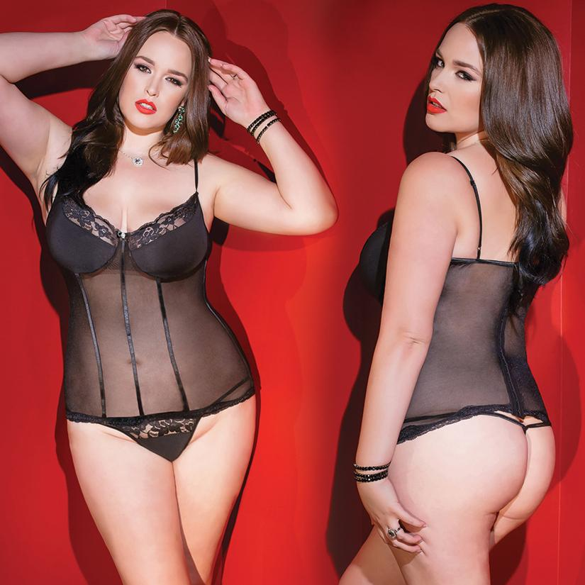 Kissable Mesh With Scalloped Lace Bustier & G-String-Black O/S - OkGiv