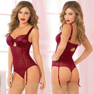 Savoir Faire Floral Galloon Two Piece Teddy - Wine - OkGiv