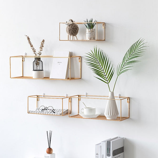 Minimalistic Iron Shelf Perfect for a Green Space