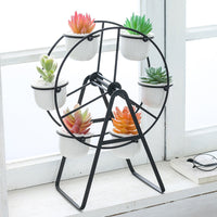 Home Creative Ferris Wheel Iron Ceramic Succulent Flower Pot Set Black Shelf With 6 Flowerpots Desktop Decor Balcony Decor 00