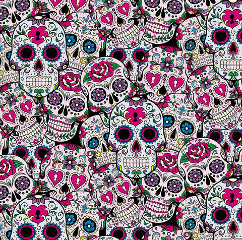 SKL031 - Day of the Dead Black & Pink Sugar Skulls (50cm)