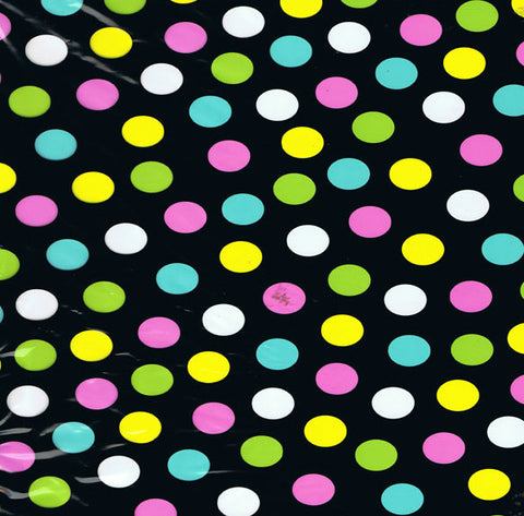 FAB051 - Neon Polka Dots on Black (50cm)