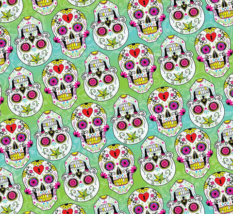 SKL028 - Day of the Dead Turquoise Sugar Skulls (50cm)