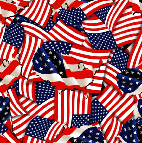 FLG004 - American Flags & Map (100cm)