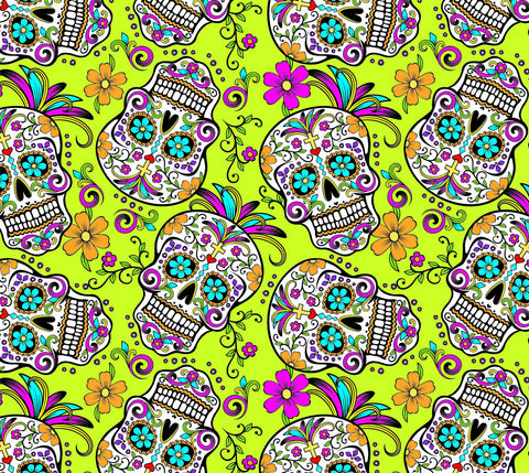 SKL030 - Day of the Dead Yellow Sugar Skulls (50cm)