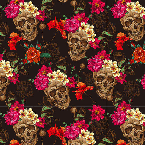 SKL054 - Colorful Skulls & Roses (100cm)