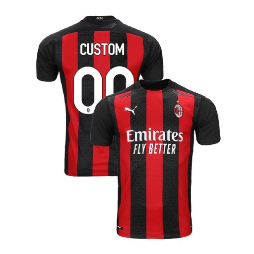 AC Milan Custom Men's Home Short Sleeve Jersey 2020-21