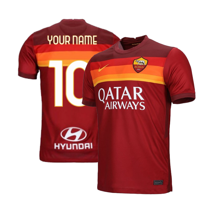 AS Roma Custom Men's Home Short Sleeve Jersey 2020-21