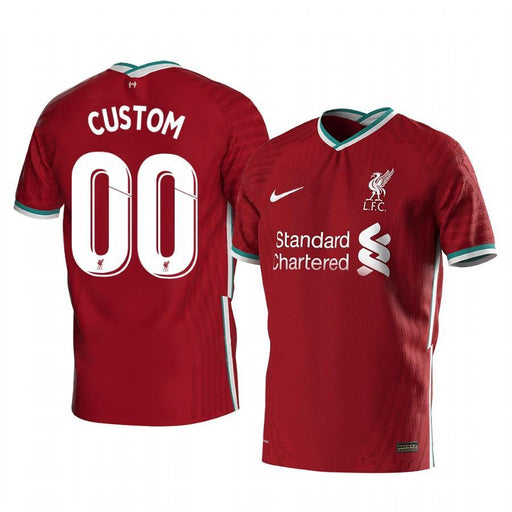 Liverpool Custom 2020-21 Red Home Men's Short Sleeve Jersey