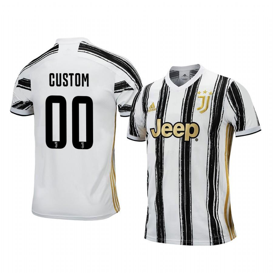 Juventus Custom 2020-21 Home Men's White Black Short Sleeve Jersey