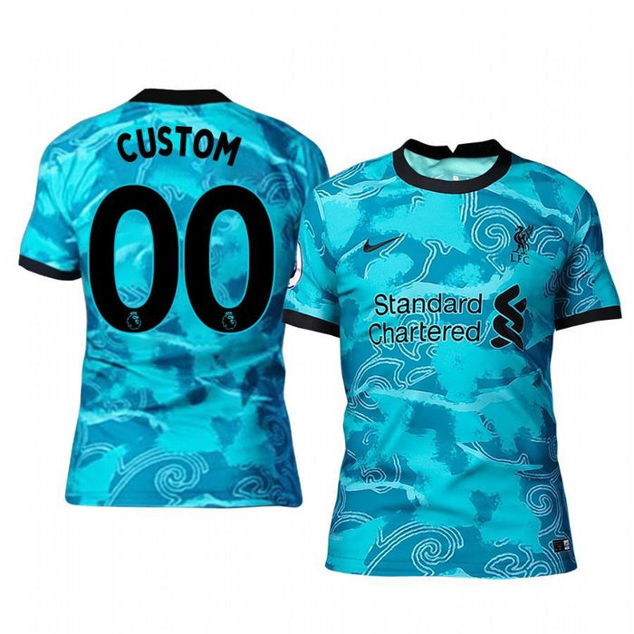 Liverpool Custom Men's Green Away Short Sleeve Jersey 2020-21