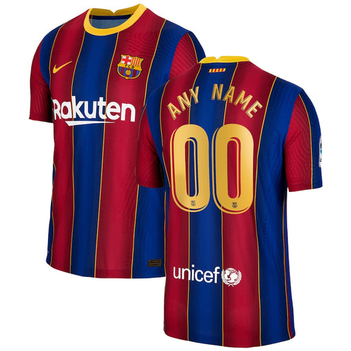 Barcelona Custom Men's Red Blue Home Short Sleeve Jersey 2020-21