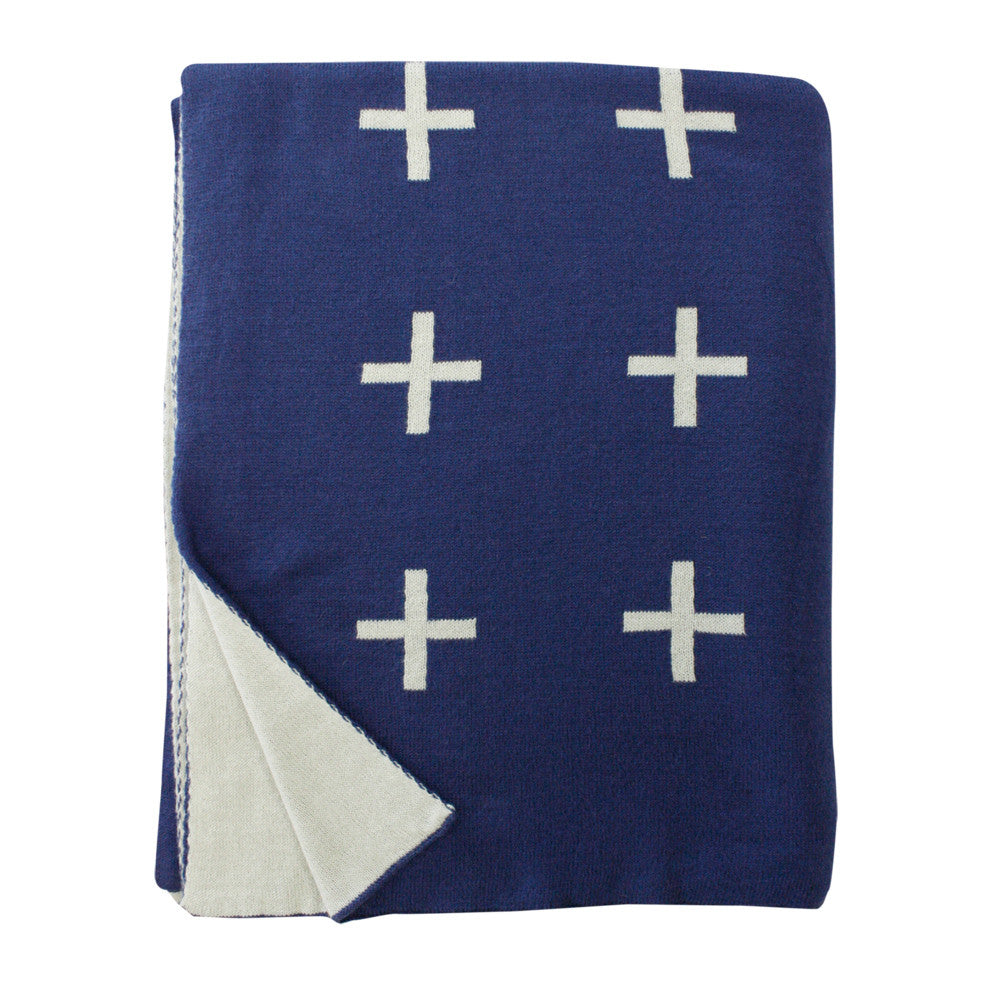 Cross Knit Throw - Twilight Blue-Fawn