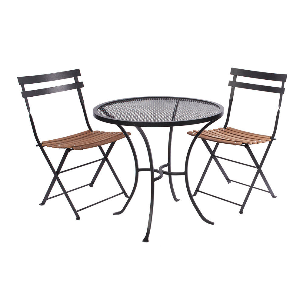 750mm dia. w Alfresco Folding Chair Black