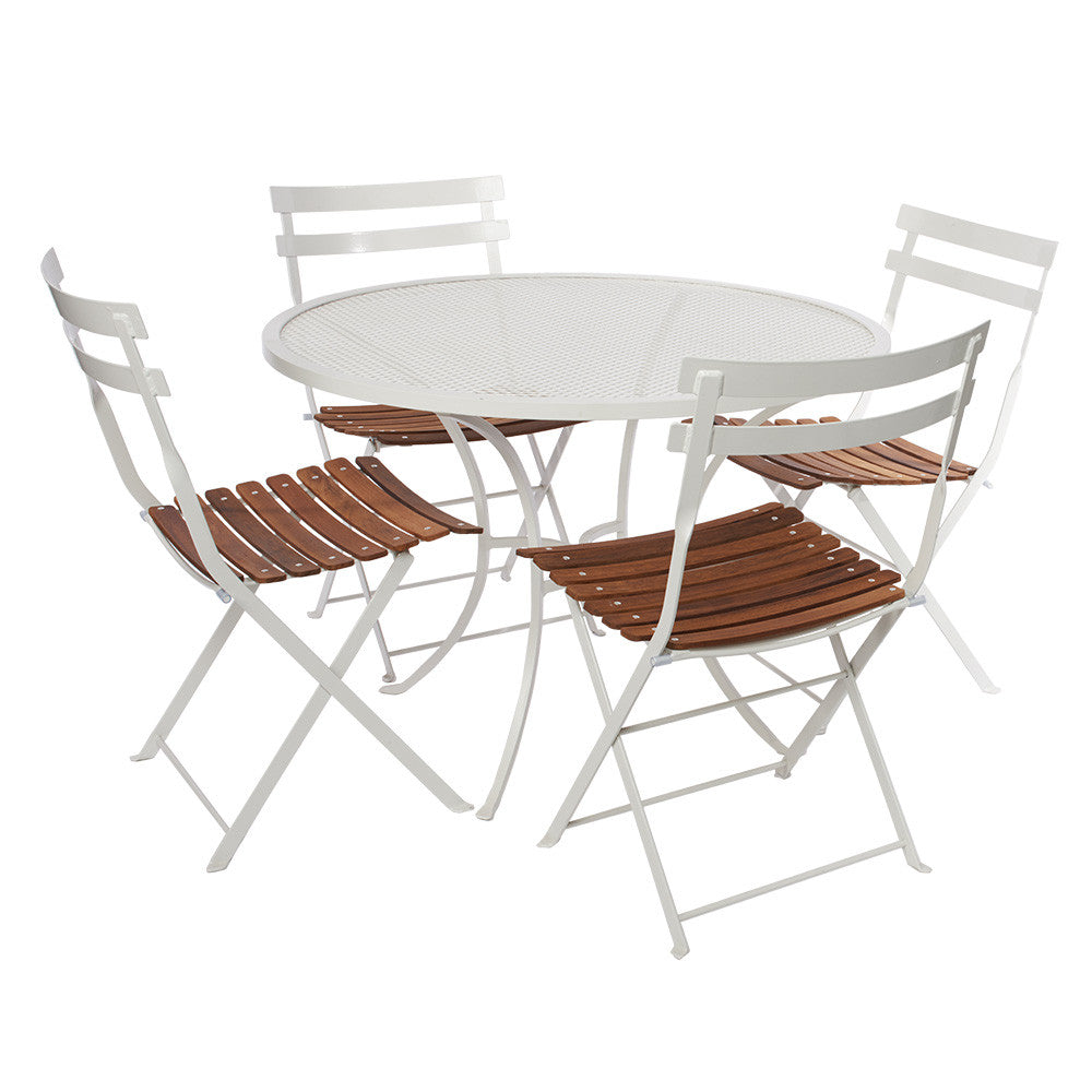 1m dia. w Alfresco Folding Chair White