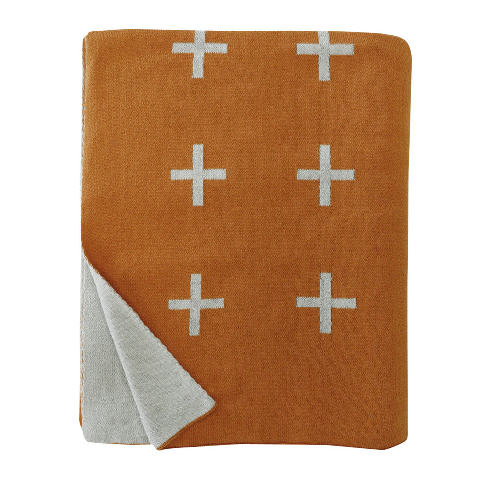Cross Knit Throw - Orange-Grey