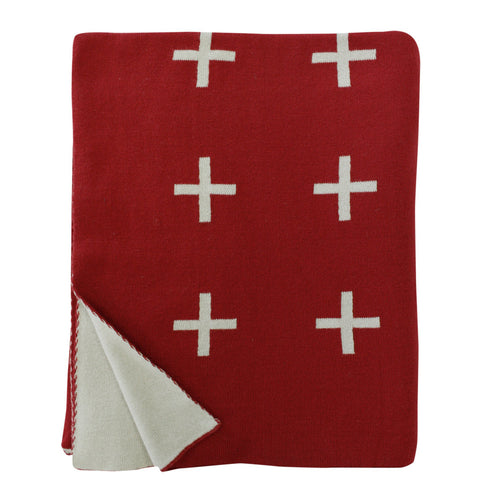 Cross Knit Throws - Chilli Red-Fawn
