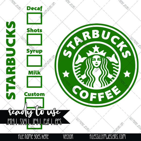 Starbucks Coffee Logo with Drink Options SVG | PNG, Silhouette, Cricut, Instant Download, Digital File, Sublimation Graphics, Clipart