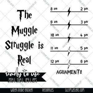 Muggle Struggle Water Intake Tracker | SVG, JPEG, PNG, Silhouette, Cricut, Instant Download, Digital File, Tumbler Template