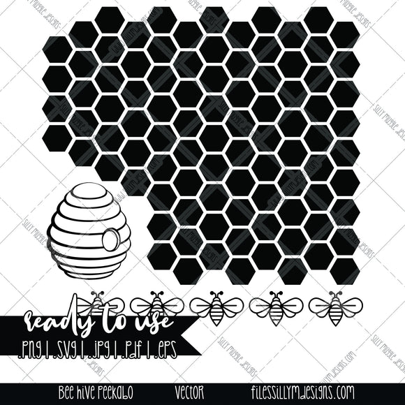 Bee Hive Tumbler Peekaboo Template | SVG, JPEG, PNG, Silhouette, Cricut, Instant Download, Digital File, Tumbler Template