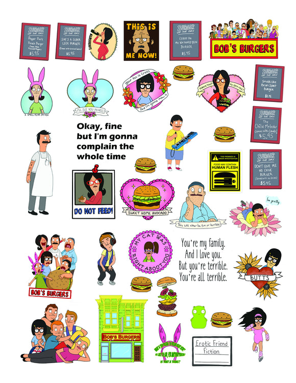 Bob's Burgers Images Sheet | PNG PDF JPEG | Perfect for Clear Waterslides for Tumblers
