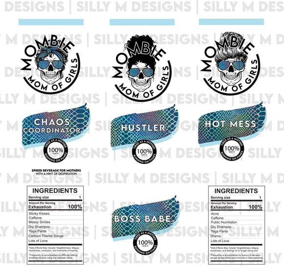 Mombie Hard Seltzer Label | Mom of Girls | Tumbler Template | .JPG Digital Download