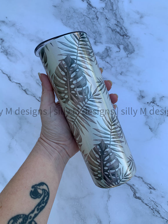 Palm Leaf Holographic 20oz Stainless Steel Tumbler