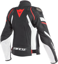 Load image into Gallery viewer, DAINESE Avro 4 black/white/fluo-red női bőrkabát