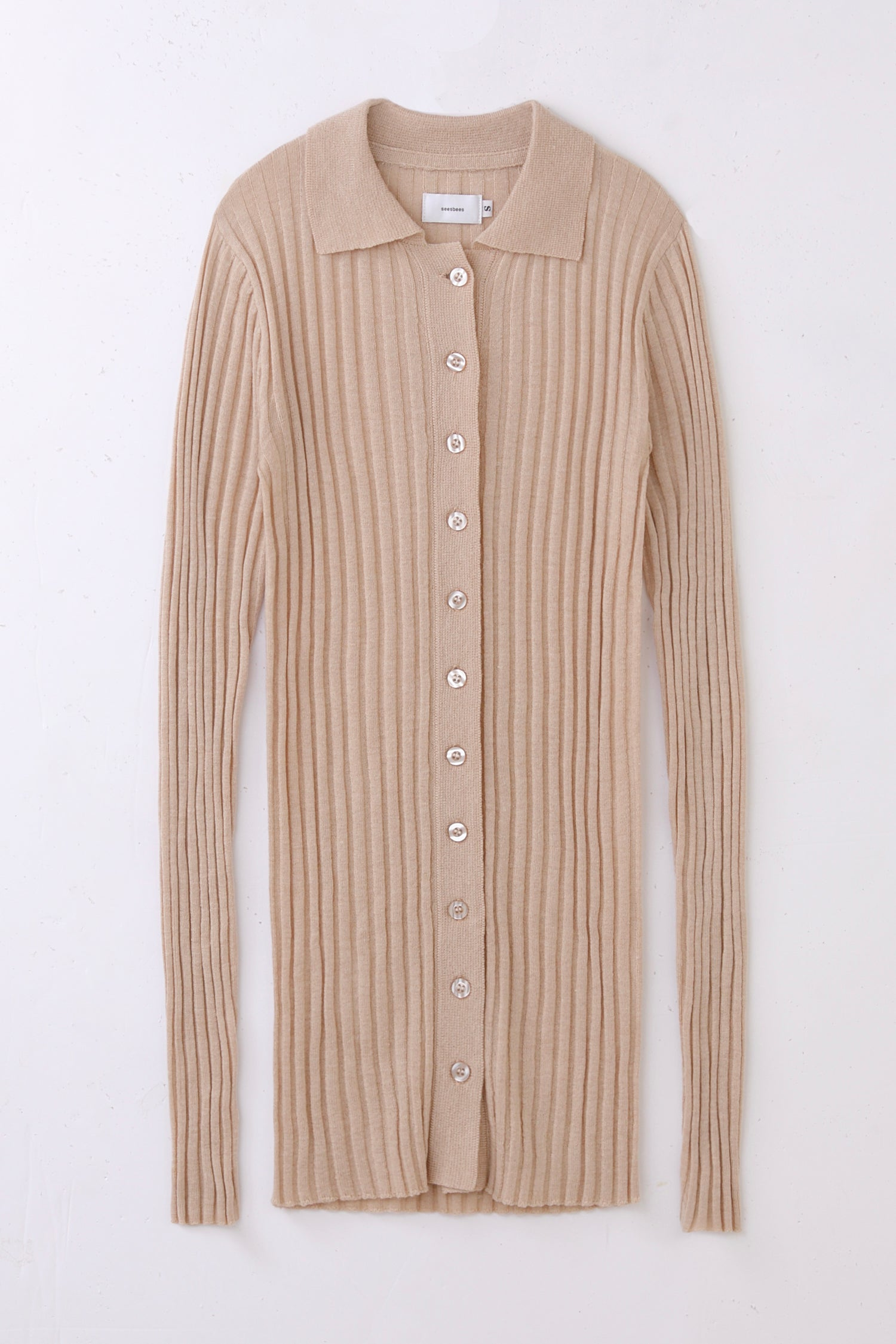 ribbed polo -beige-