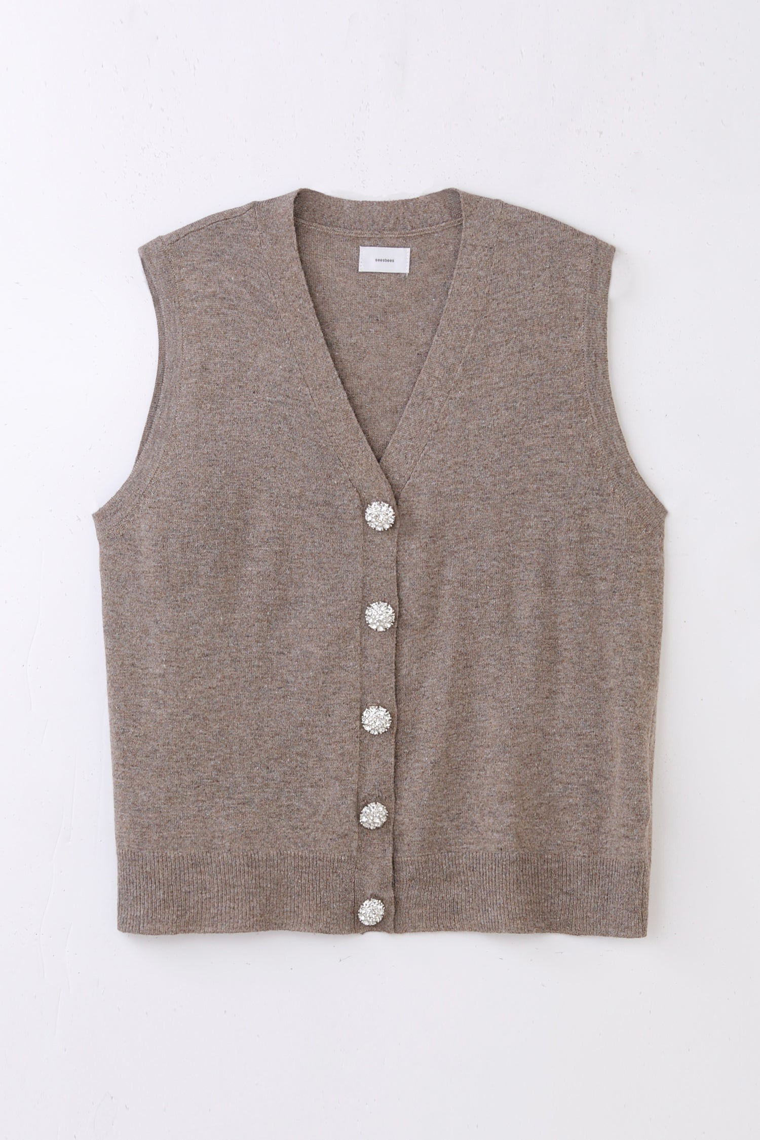 jewelry button knit vest -beige-