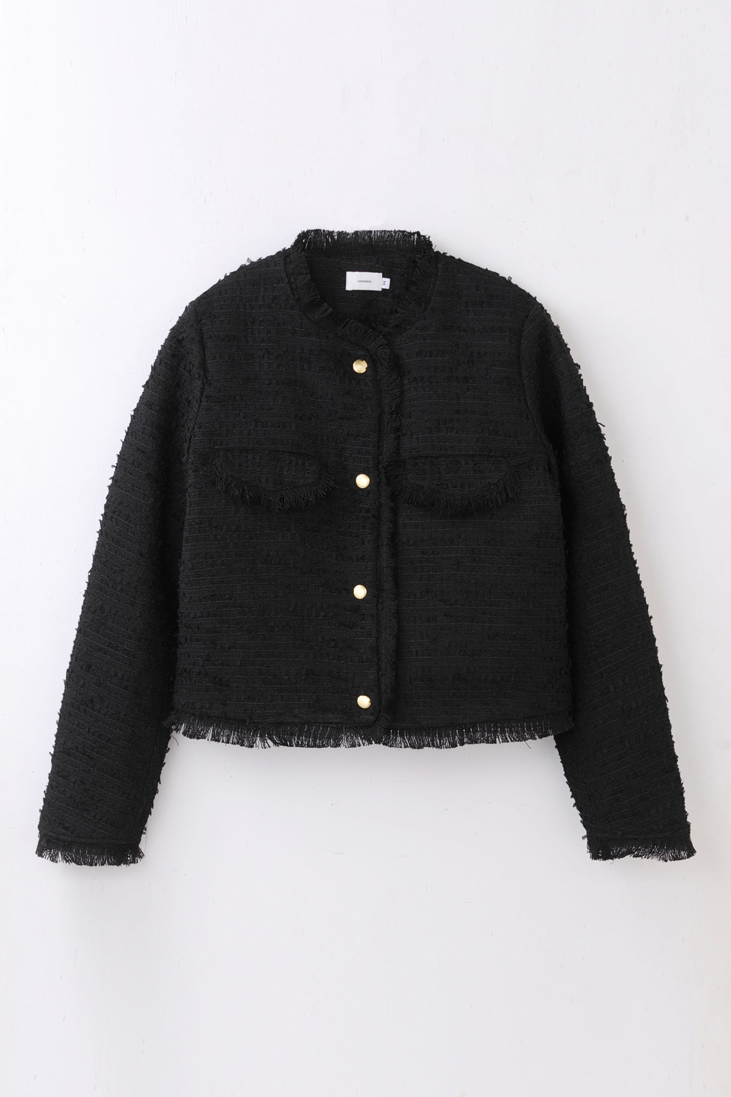 tweed jacket -black-