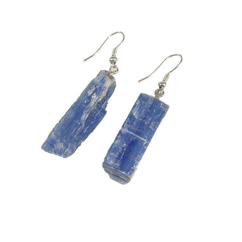 Blue Apatite Rough Mineral Earrings