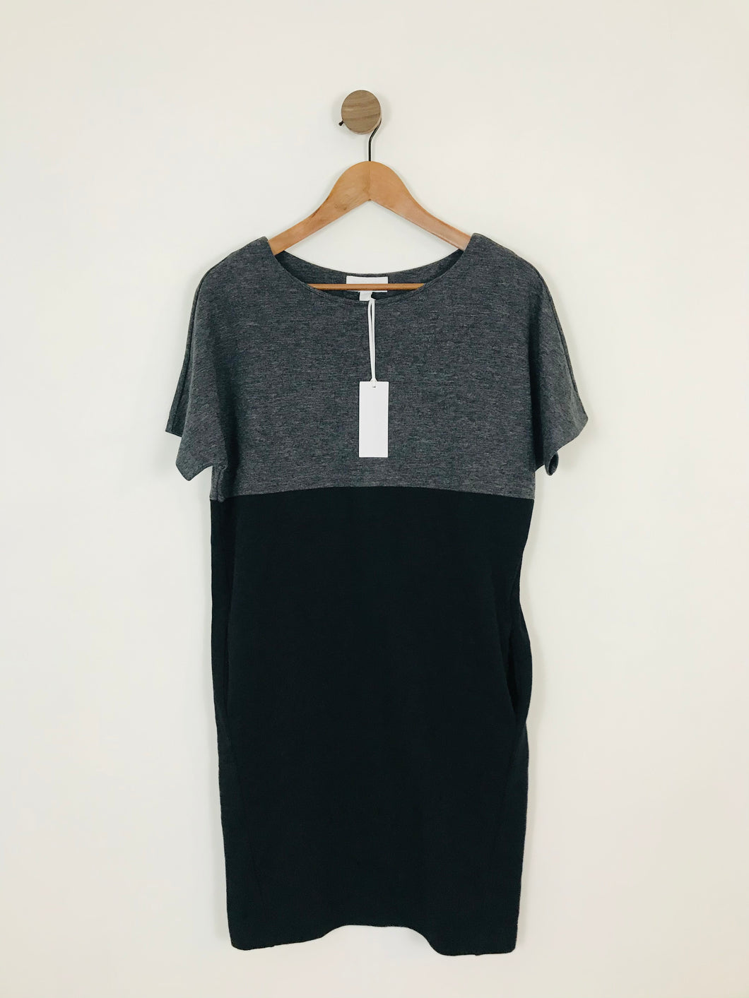 The White Company White Label Women's Colour Block Shift Dress NWT | UK8 | Black Grey