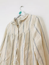Load image into Gallery viewer, Fat Face Women's Striped Button Down Shirt | UK12 | White