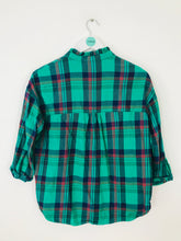 Load image into Gallery viewer, Whistles Women's Oversized Frill Check Shirt | UK6 | Green