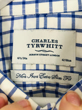 Load image into Gallery viewer, Charles Tyrwhitt Men's Check Long Sleeve Extra Slim Fit Shirt | 42 XL | Blue