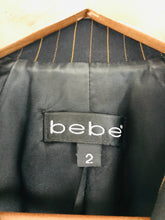 Load image into Gallery viewer, Bebe Women's Pinstripe Fitted Suit Jacket | 2 UK6 | Black
