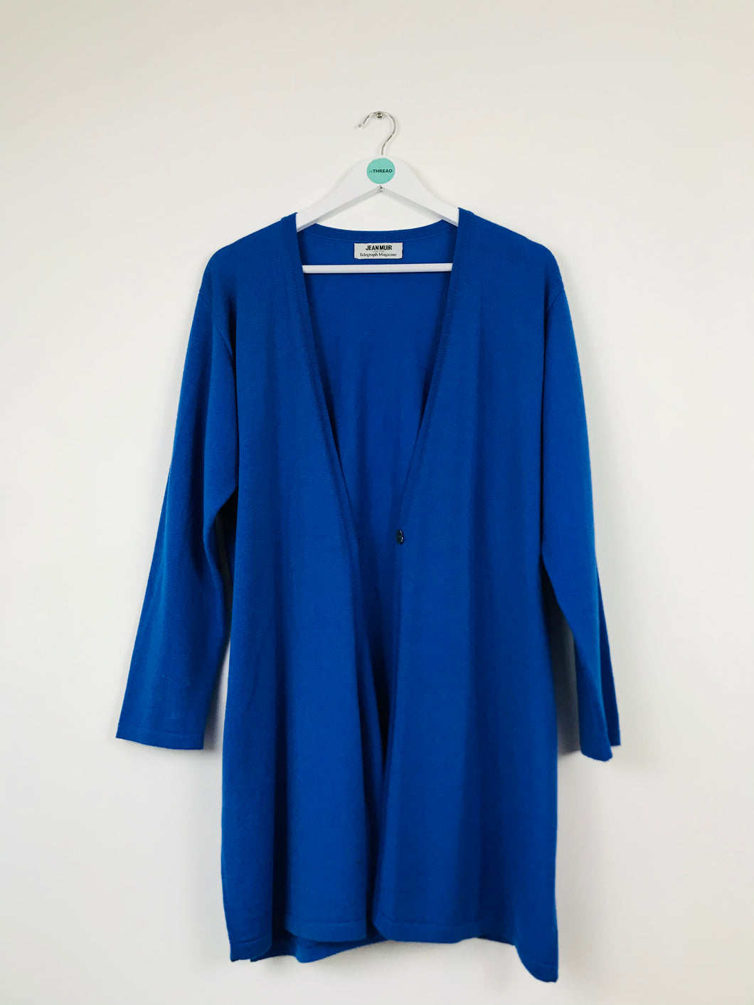 Jean Muir Womens Long Wool Cardigan | M | Blue