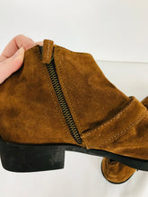 Load image into Gallery viewer, Zara Women's Suede Leather Buckle Strap Ankle Boots | 38 UK5 | Brown