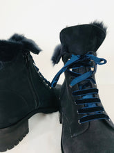 Load image into Gallery viewer, Russell & Bromley Women's Leather Fur Combat Boots | 39.5 UK6.5 | Navy Blue