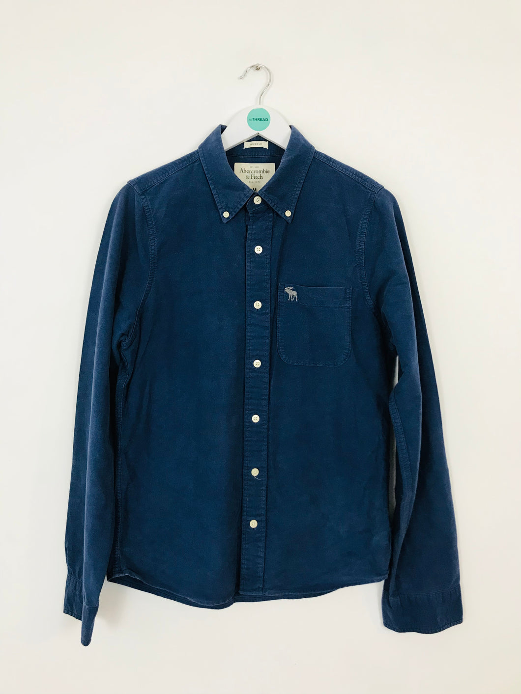 Abercrombie & Fitch Men's Long Sleeve Shirt | M | Navy Blue