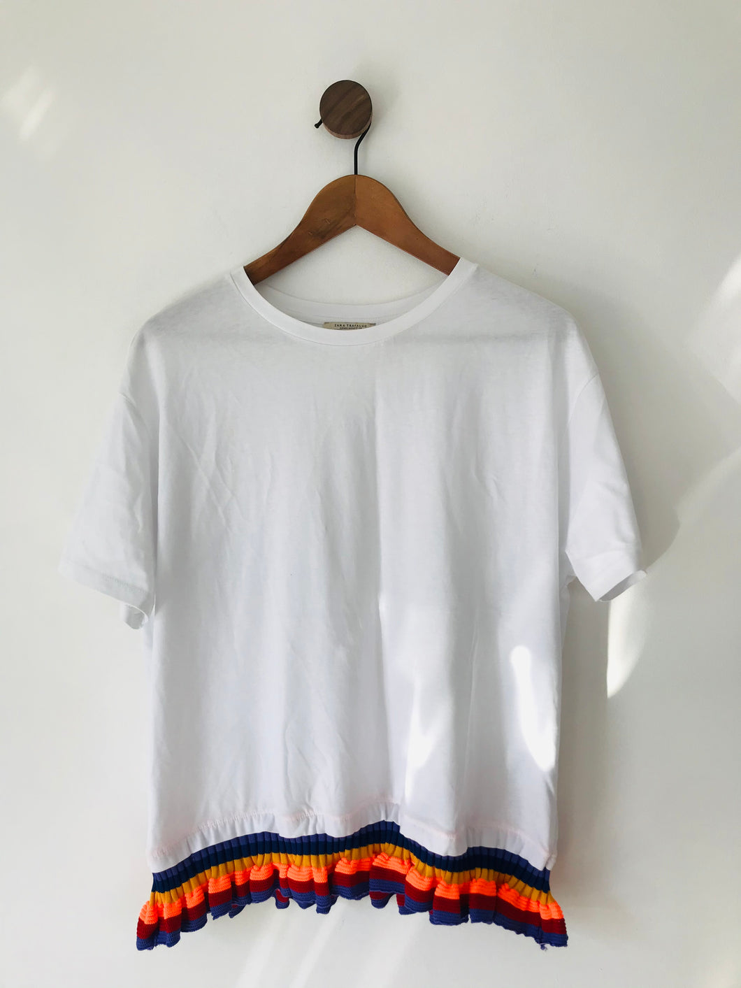 Zara Women's Rainbow Knit Frill Hem T-Shirt | M UK10-12 | White