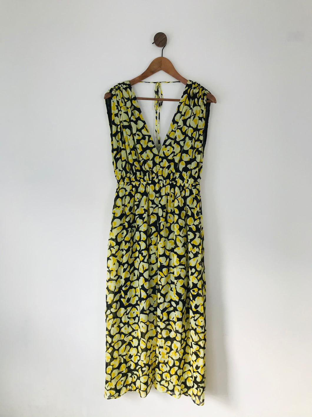 & Other Stories Women's Floral Gathered Maxi Dress | UK10 EU38 | Yellow