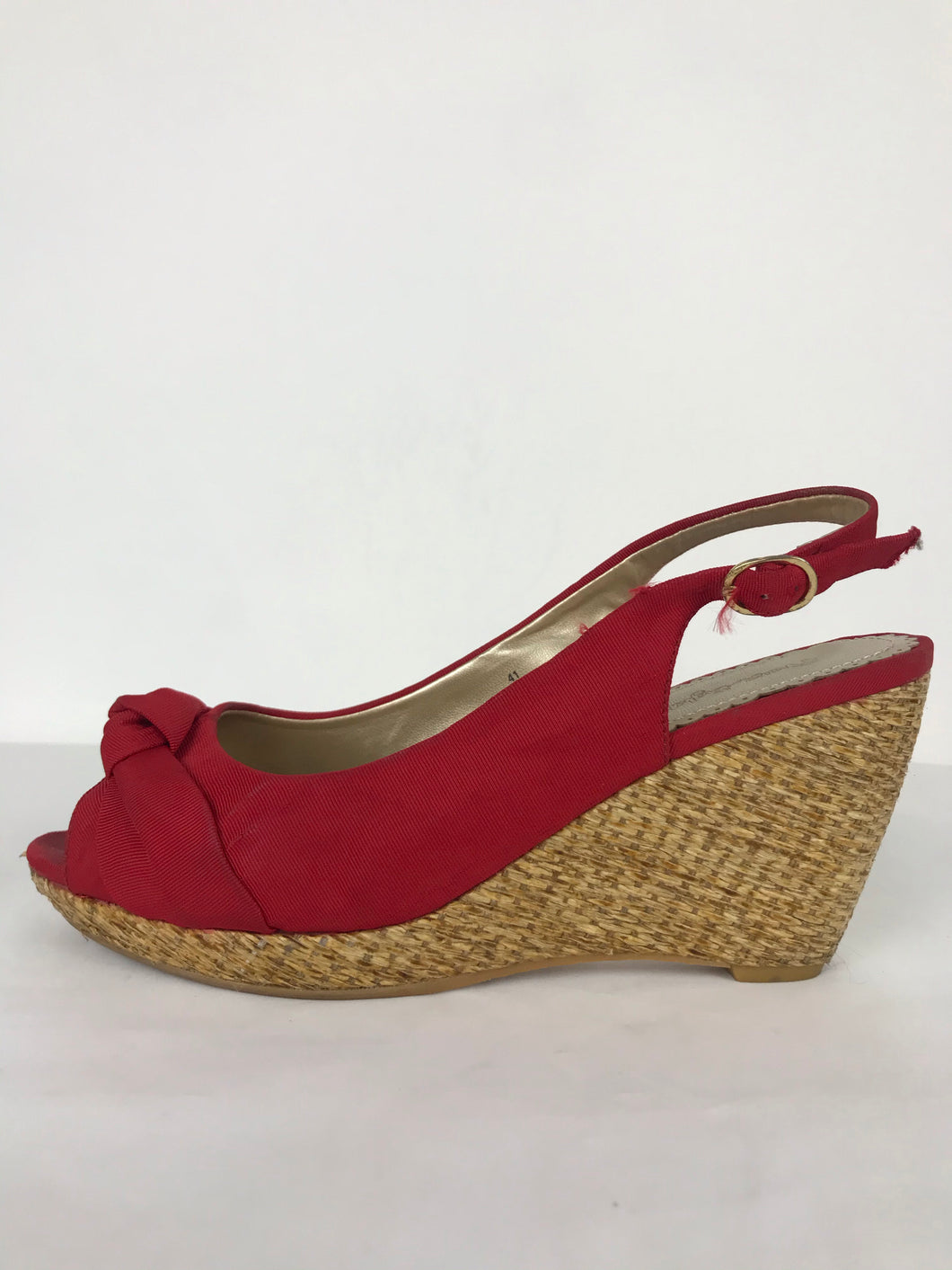 Phase Eight Womens Peep Toe Wedges | UK7.5 EU40 | Red