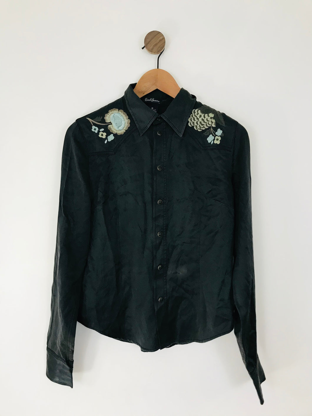 Earl Jean Women's Silk Embroidered Shirt | M UK10-12 | Black