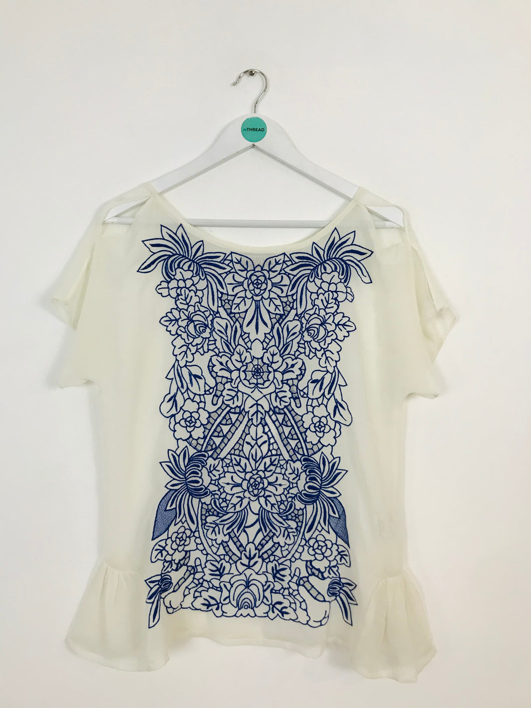 Baraschi Womens Embroidered Sheer Blouse | M | White Blue