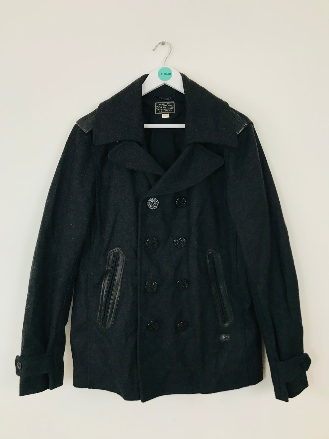 Diesel Men's Wool Pea Coat Jacket | XL | Dark Grey Black
