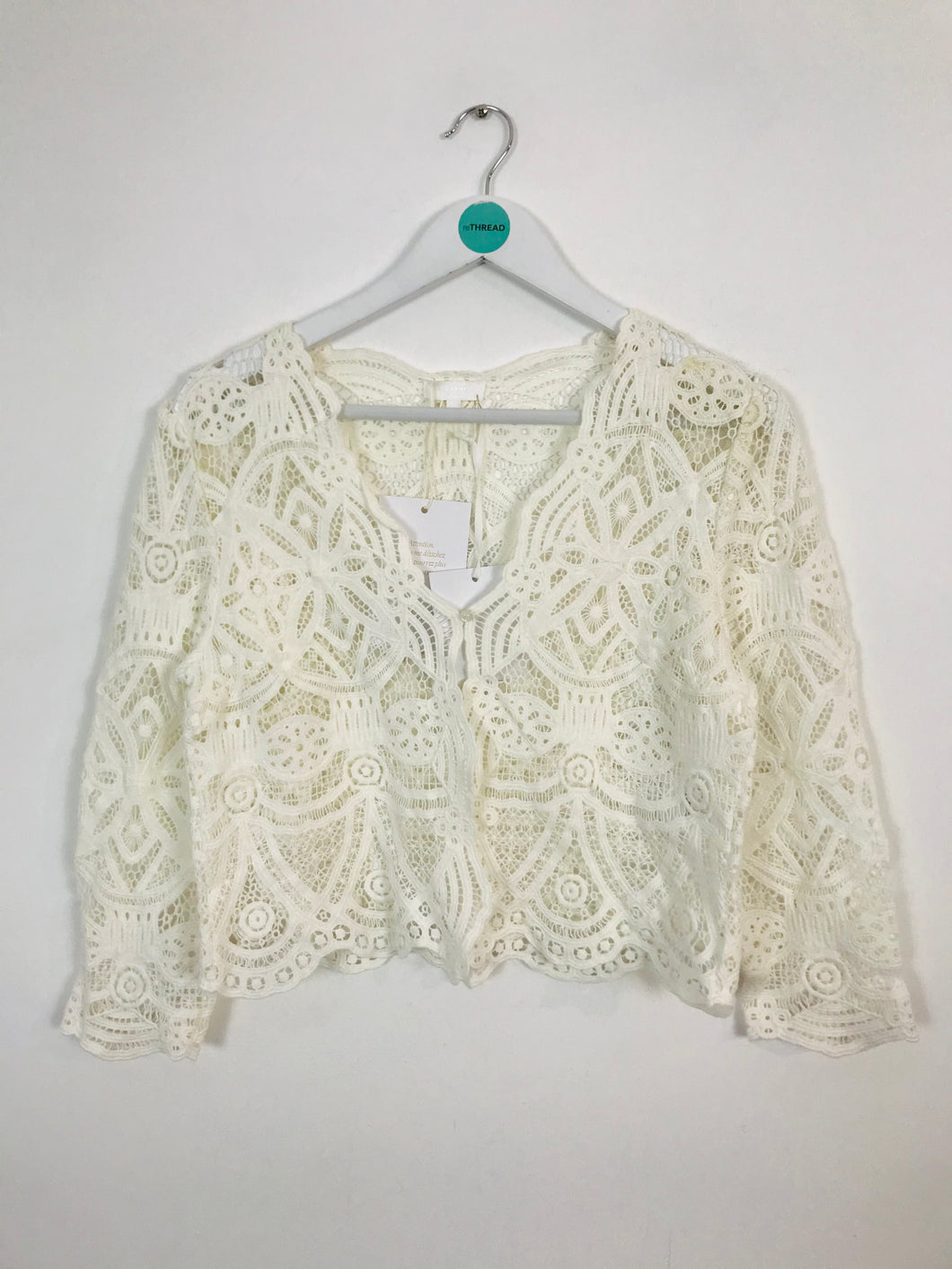 Sezane Women's Cropped Lace Jacket Top With Tags | M UK10-12 | White