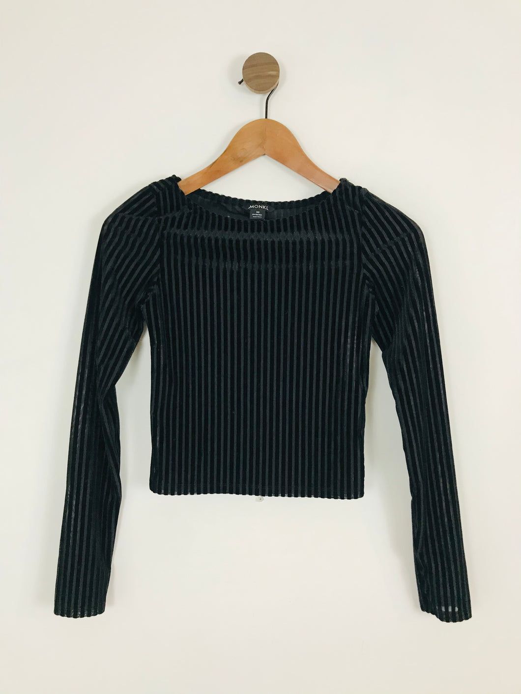 Monki Women's Velvet Devore Stripe Long Sleeve Top | UK6 | Black